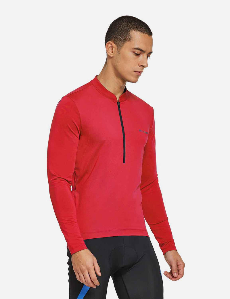 Baleaf Mens UPF 50+ Half Zip Long Sleeved Cycling Top with Back Pouch Storage red side