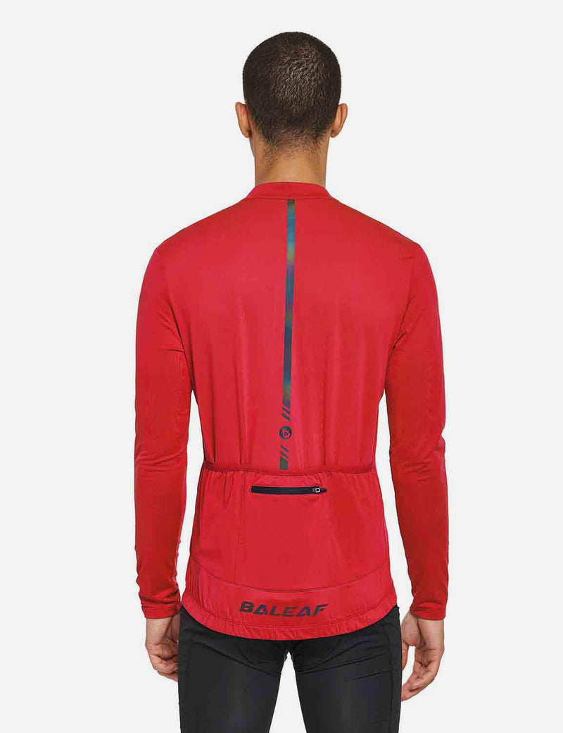 Baleaf Mens UPF 50+ Half Zip Long Sleeved Cycling Top with Back Pouch Storage red back
