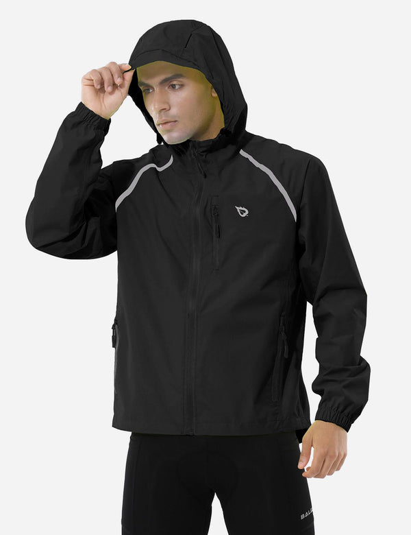 Baleaf men Fluorescent Water Resistance Pocketed Windbreaker Track Jacket Black Front
