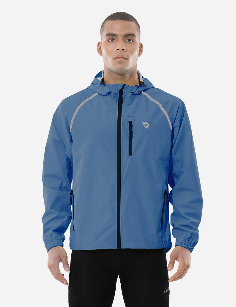 Baleaf men Fluorescent Water Resistance Pocketed Windbreaker Track Jacket Blue Front