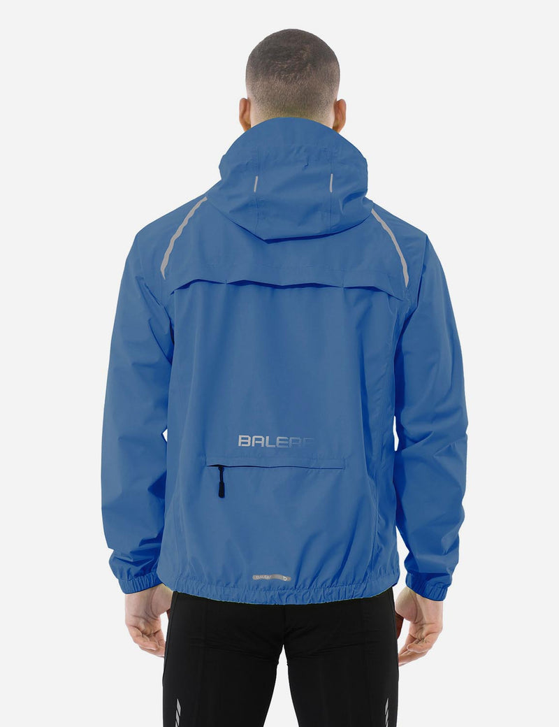 Baleaf men Fluorescent Water Resistance Pocketed Windbreaker Track Jacket Blue Back