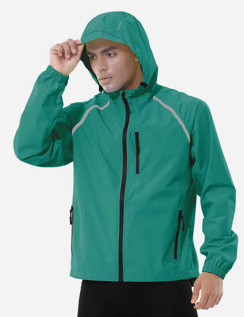 Baleaf Mens Fluorescent Water Resistance Pocketed Windbreaker Track Jacket Fluorescent Green Side