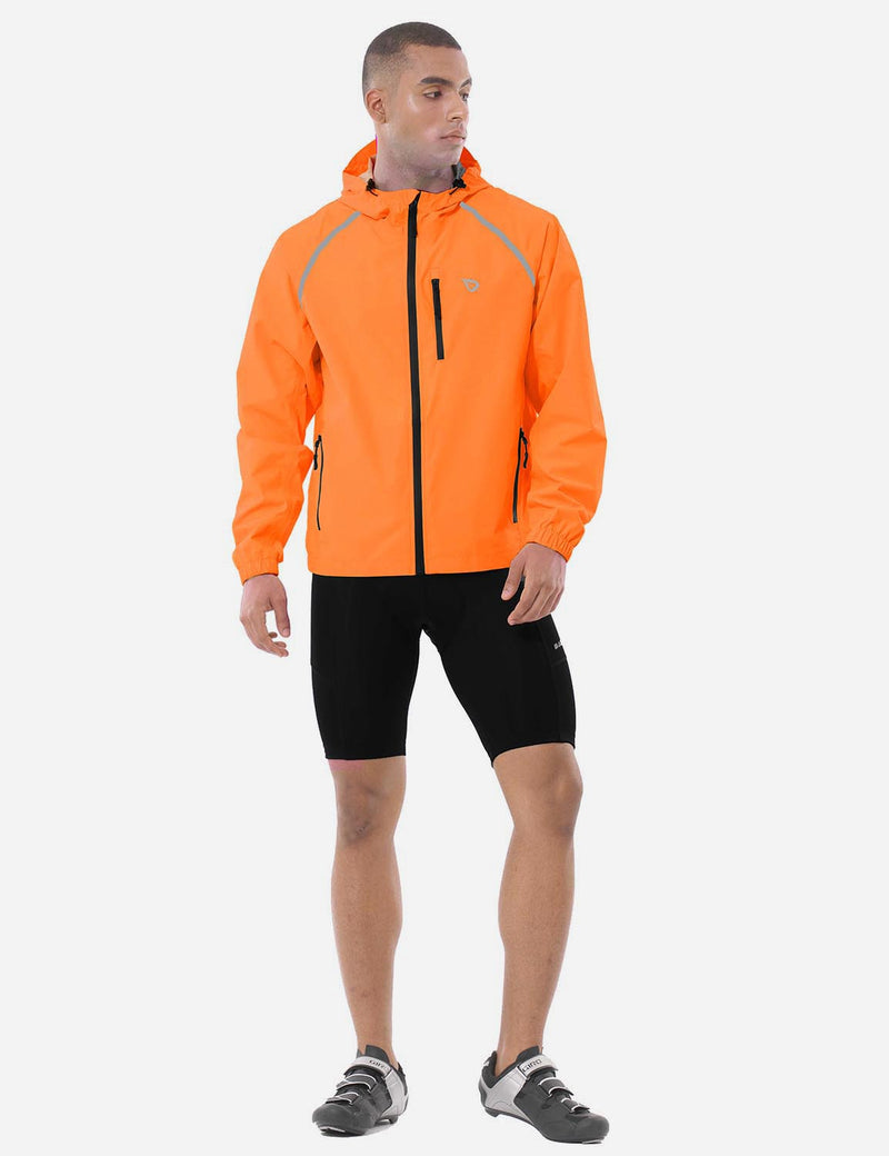 Baleaf Mens Fluorescent Water Resistance Pocketed Windbreaker Track Jacket Fluorescent Orange full