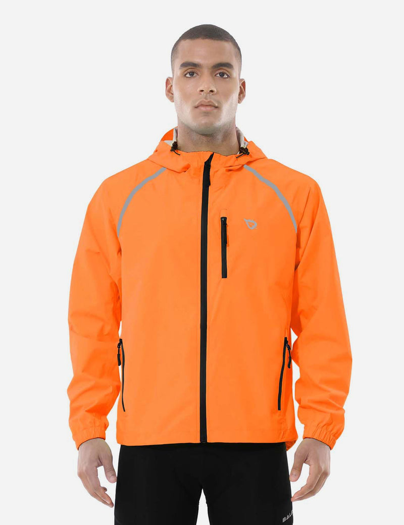 Baleaf Mens Fluorescent Water Resistance Pocketed Windbreaker Track Jacket Fluorescent Orange front