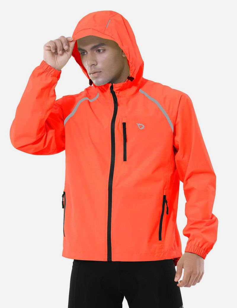 Baleaf Mens Fluorescent Water Resistance Pocketed Windbreaker Track Jacket Fluorescent red side