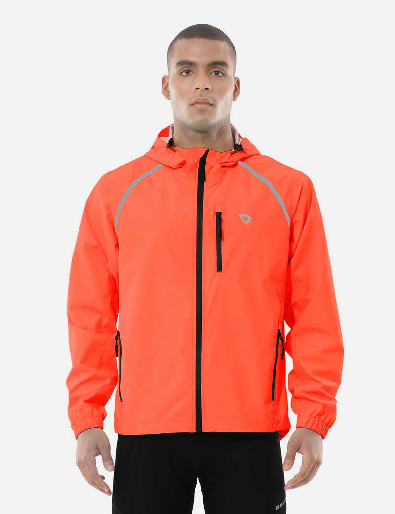 Baleaf Mens Fluorescent Water Resistance Pocketed Windbreaker Track Jacket Fluorescent red front