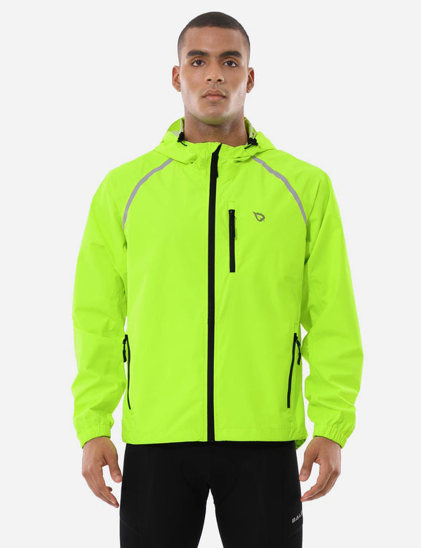 Baleaf Mnes Fluorescent Water Resistance Pocketed Windbreaker Track Jacket Fluorescent Yellow Front