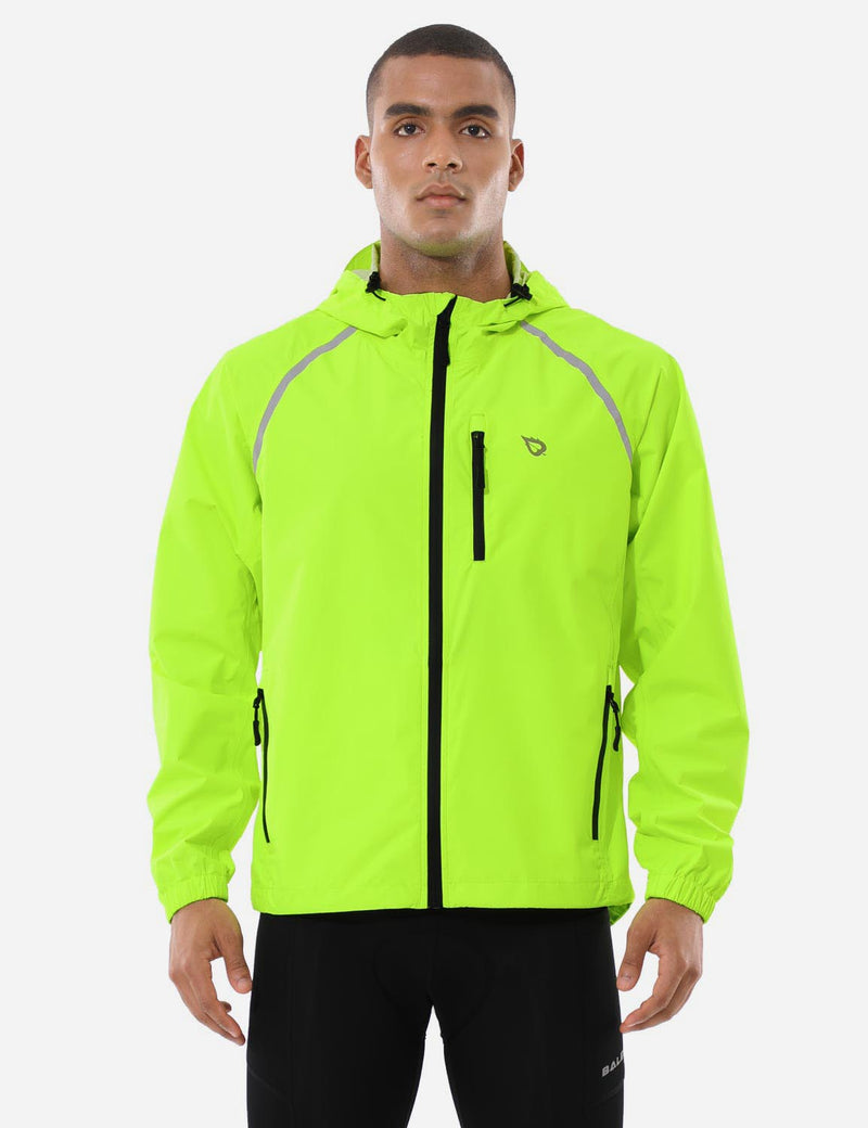 Baleaf Mens Fluorescent Water Resistance Pocketed Windbreaker Track Jacket Fluorescent Yellow Front