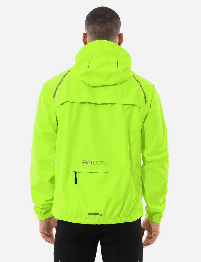 Baleaf Mnes Fluorescent Water Resistance Pocketed Windbreaker Track Jacket Fluorescent Yellow Back