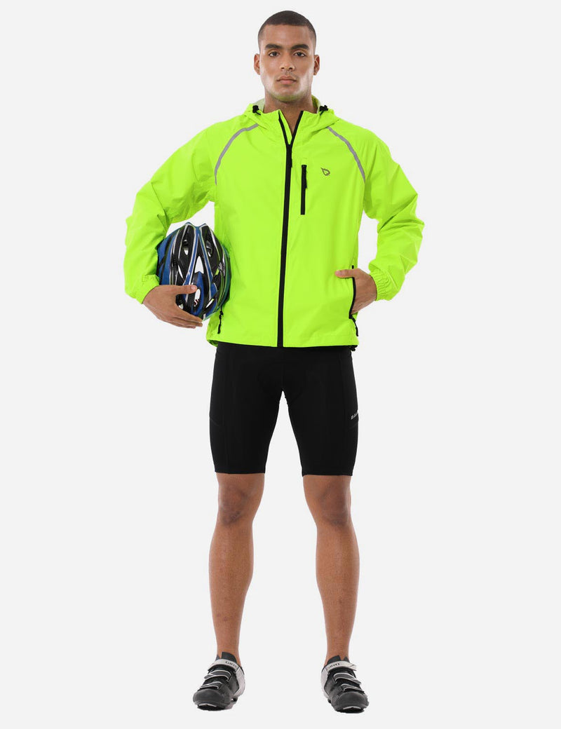 Baleaf Mnes Fluorescent Water Resistance Pocketed Windbreaker Track Jacket Fluorescent Yellow Full