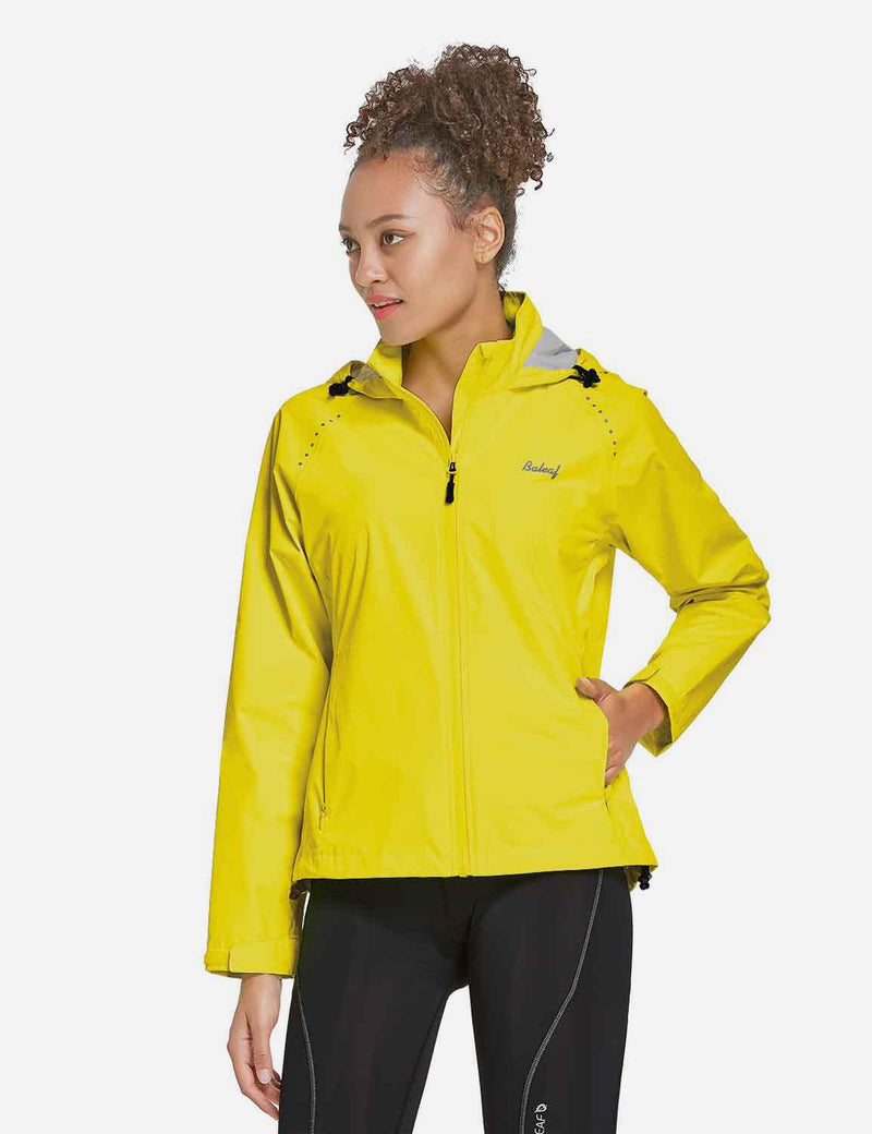 Baleaf Womens Waterproof Lightweight Full-Zip Hooded Cycling Jacket w Back & Side Pockets Fluorescent Yellow Front