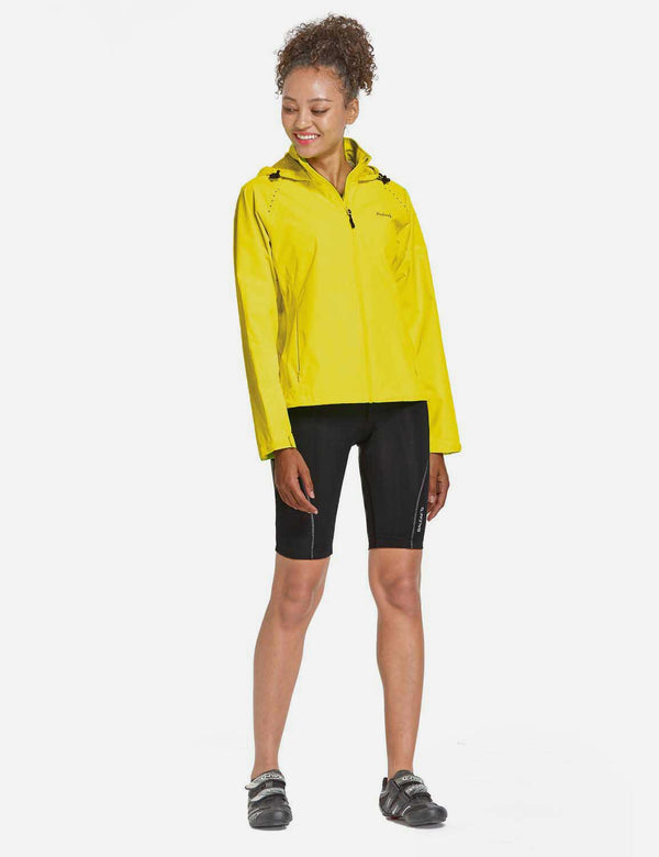 Baleaf Womens Waterproof Lightweight Full-Zip Hooded Cycling Jacket w Back & Side Pockets Fluorescent Yellow Side