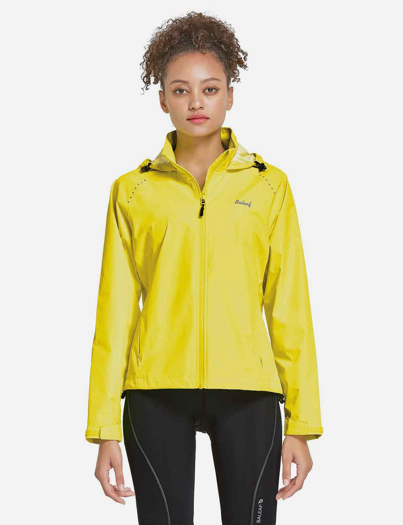Baleaf Womens Waterproof Lightweight Full-Zip Hooded Cycling Jacket w Back & Side Pockets Fluorescent Yellow Back
