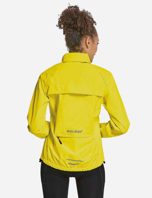 Baleaf Womens Waterproof Lightweight Full-Zip Hooded Cycling Jacket w Back & Side Pockets Fluorescent Yellow Full