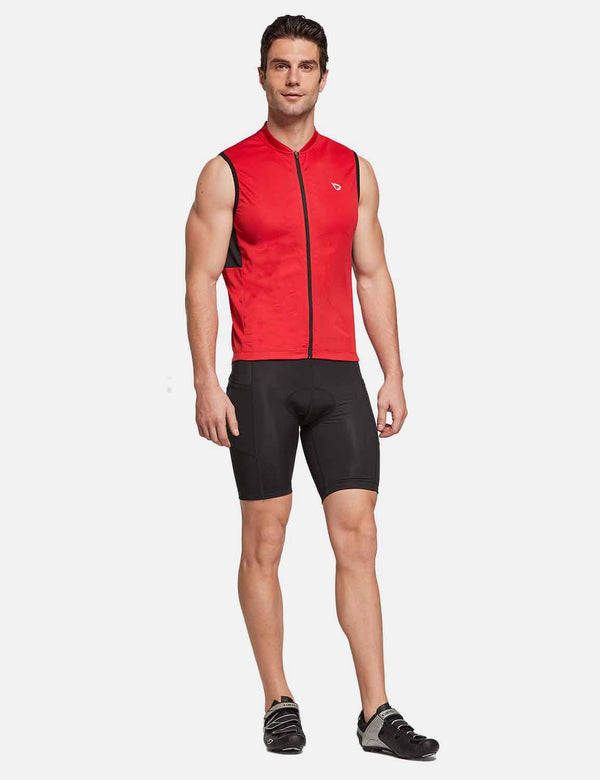 Baleaf Mens UPF 50+Full Zip Sleeveless Cycling Bike Jersey red full