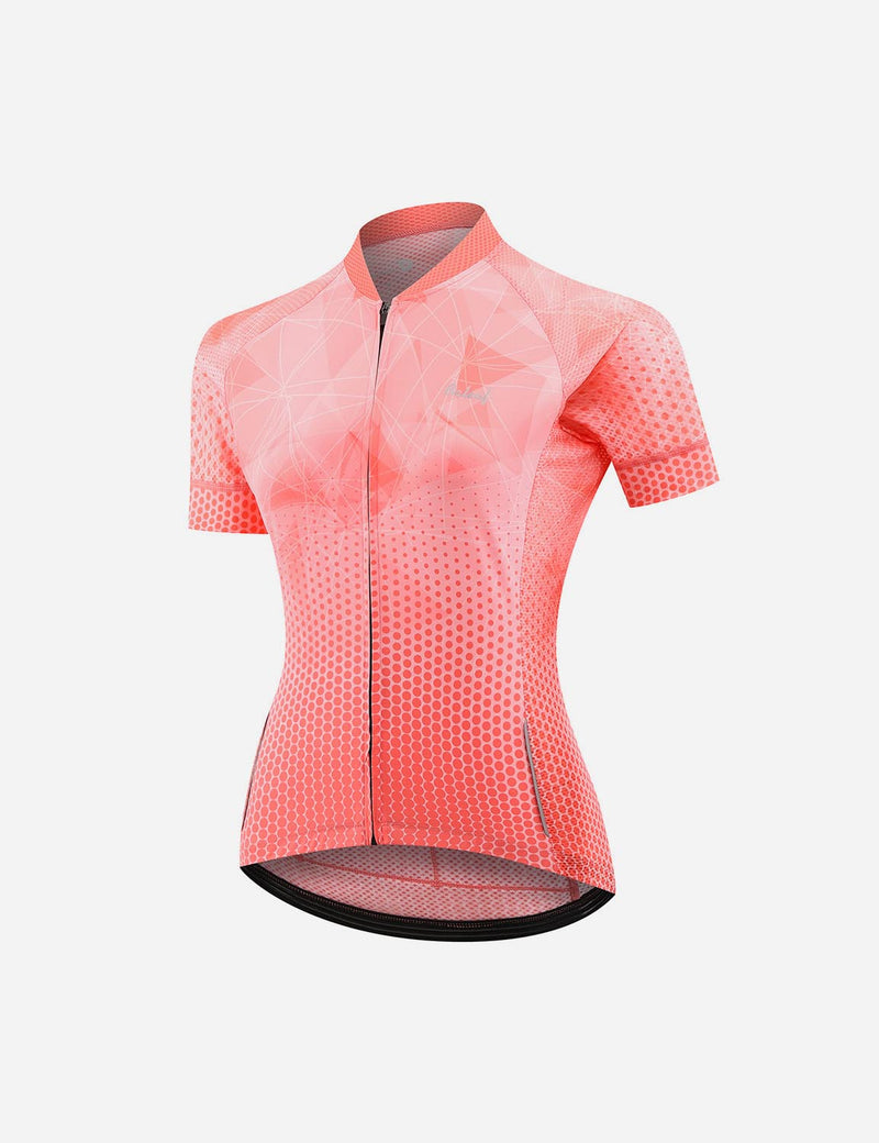 Baleaf Women UPF 50+ Digital Printed Quick-Dry Mesh Pocketed Cycling Jersey Red Front