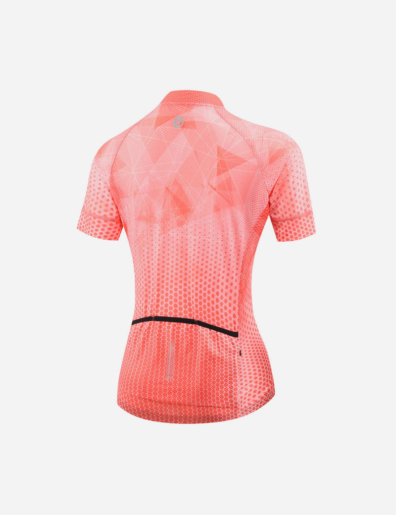 Baleaf Women UPF 50+ Digital Printed Quick-Dry Mesh Pocketed Cycling Jersey Red Back