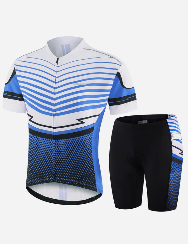 Baleaf Men UPF 50+ 4D Chamois Padded Digital Prints Top & Bottom Set - Blue/White Front