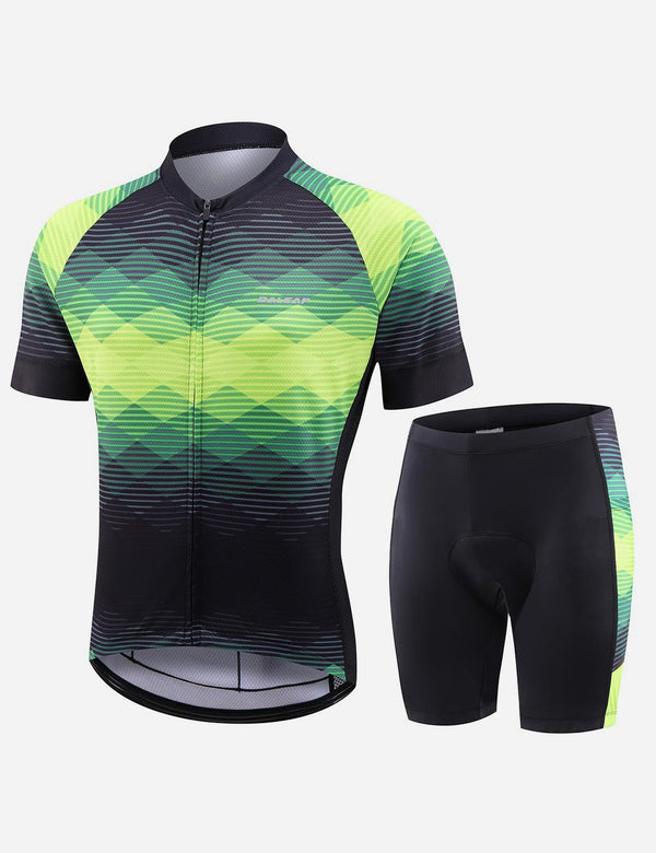 Baleaf Men UPF 50+ 4D Chamois Padded Digital Prints Top & Bottom Set - Black/Green Front