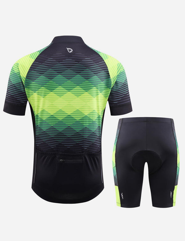 Baleaf Men UPF 50+ 4D Chamois Padded Digital Prints Top & Bottom Set - Black/Green Back