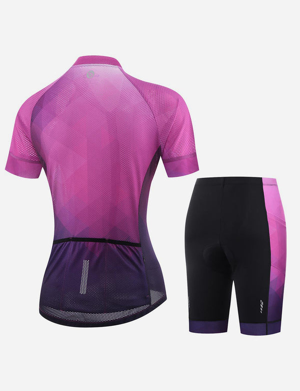Baleaf Women UPF 50+ 4D Chamois Padded Digital Prints Top & Bottom Set - Magenta Back