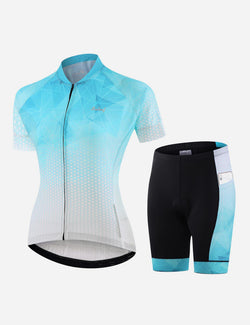 Baleaf Womens UPF 50+ 3D Chamois Padded Digital Prints Top & Bottom Set - Icicle Blue Front