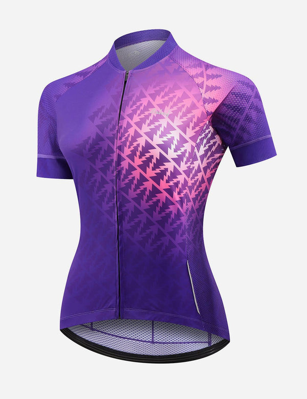 Baleaf Women UPF 50+ Digital Printed Quick Dry Mesh Pocketed Cycling Jersey - Purple Front