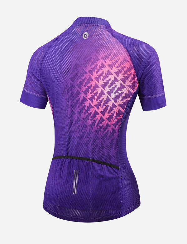 Baleaf Women UPF 50+ Digital Printed Quick Dry Mesh Pocketed Cycling Jersey - Purple Back