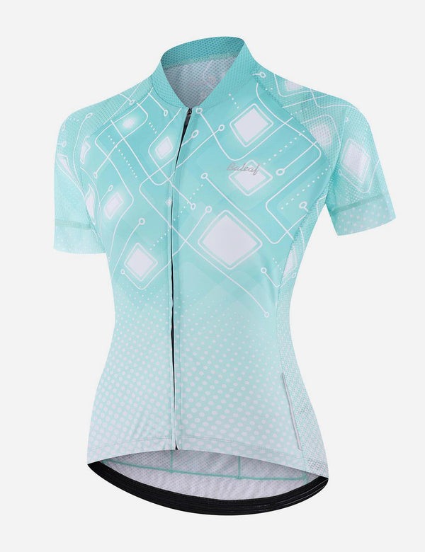 Baleaf Women UPF 50+ Digital Printed Quick Dry Mesh Pocketed Cycling Jersey - Blue Front