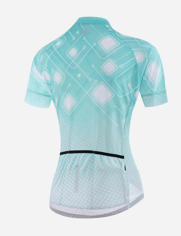 Baleaf Women UPF 50+ Digital Printed Quick Dry Mesh Pocketed Cycling Jersey - Blue Back
