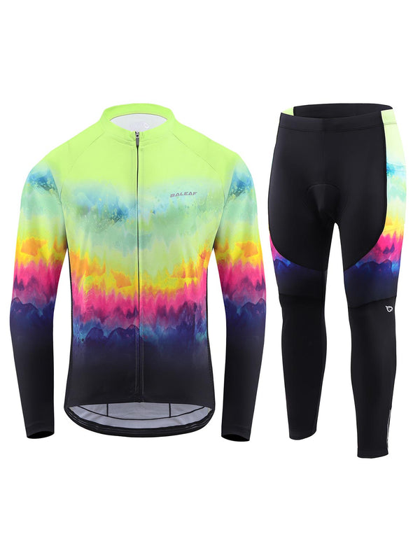 Baleaf Mens UPF 50+ 4D Chamois Padded Digital Prints Long Sleeved Cycling Set - Gradient Yellow Front