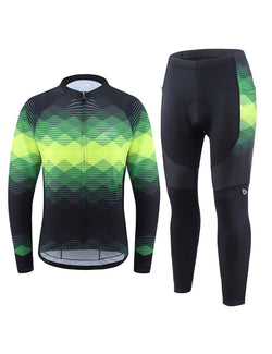 Baleaf Mens UPF 50+ 4D Chamois Padded Digital Prints Long Sleeved Cycling Set – Black/Green Front