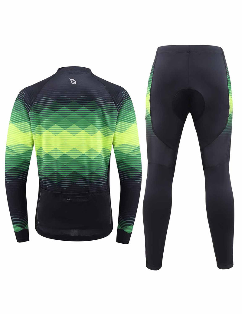 Baleaf Mens UPF 50+ 4D Chamois Padded Digital Prints Long Sleeved Cycling Set – Black/Green Back