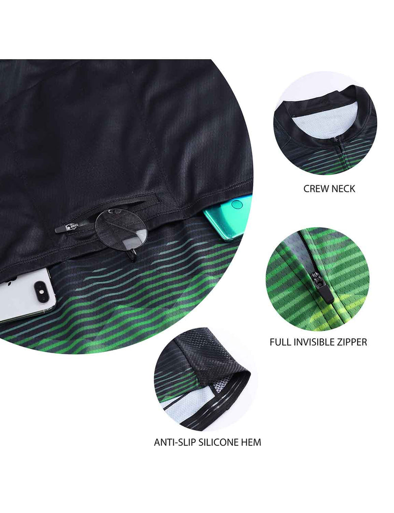 Baleaf Mens UPF 50+ 4D Chamois Padded Digital Prints Long Sleeved Cycling Set – Black/Green Details