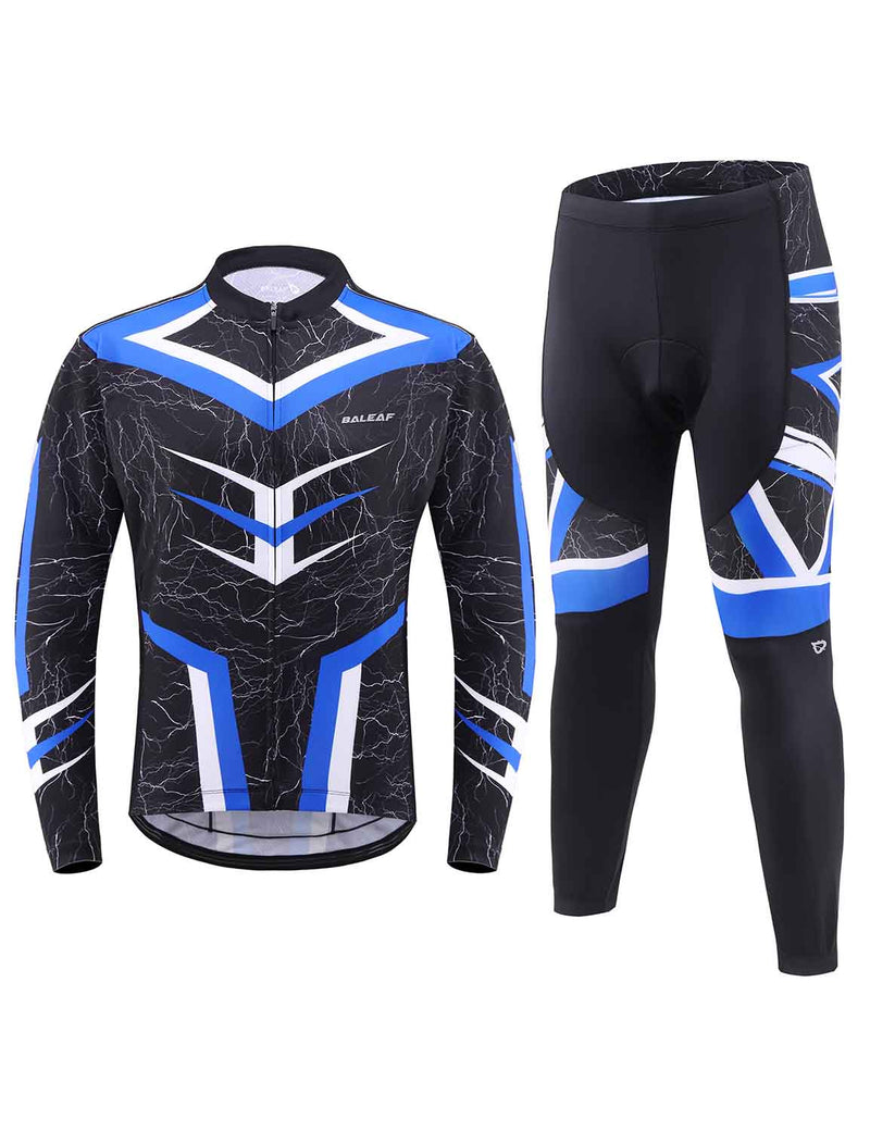 Baleaf Mens UPF 50+ 4D Chamois Padded Mesh Pocketed Long Sleeved Cycling Set Blue Front