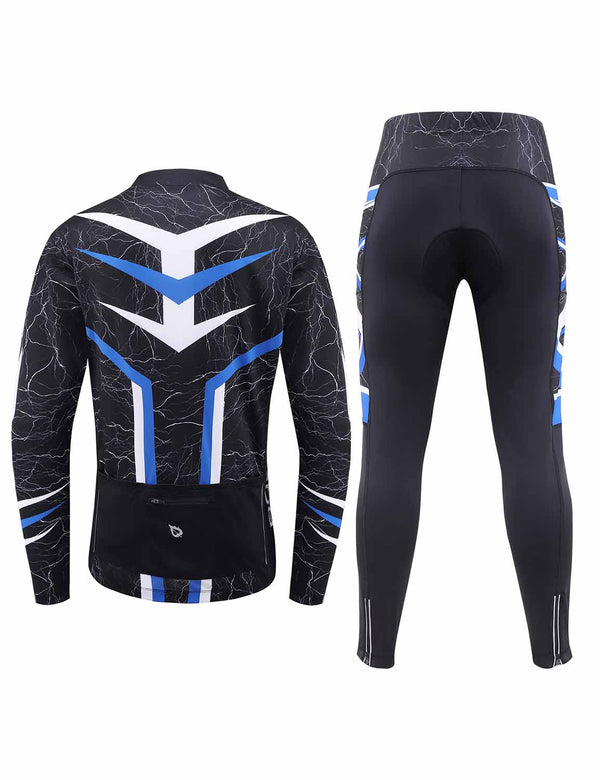 Baleaf Mens UPF 50+ 4D Chamois Padded Digital Prints Long Sleeved Cycling Set – Blue/Black BackBaleaf Mens UPF 50+ 4D Chamois Padded Mesh Pocketed Long Sleeved Cycling Set Blue Back
