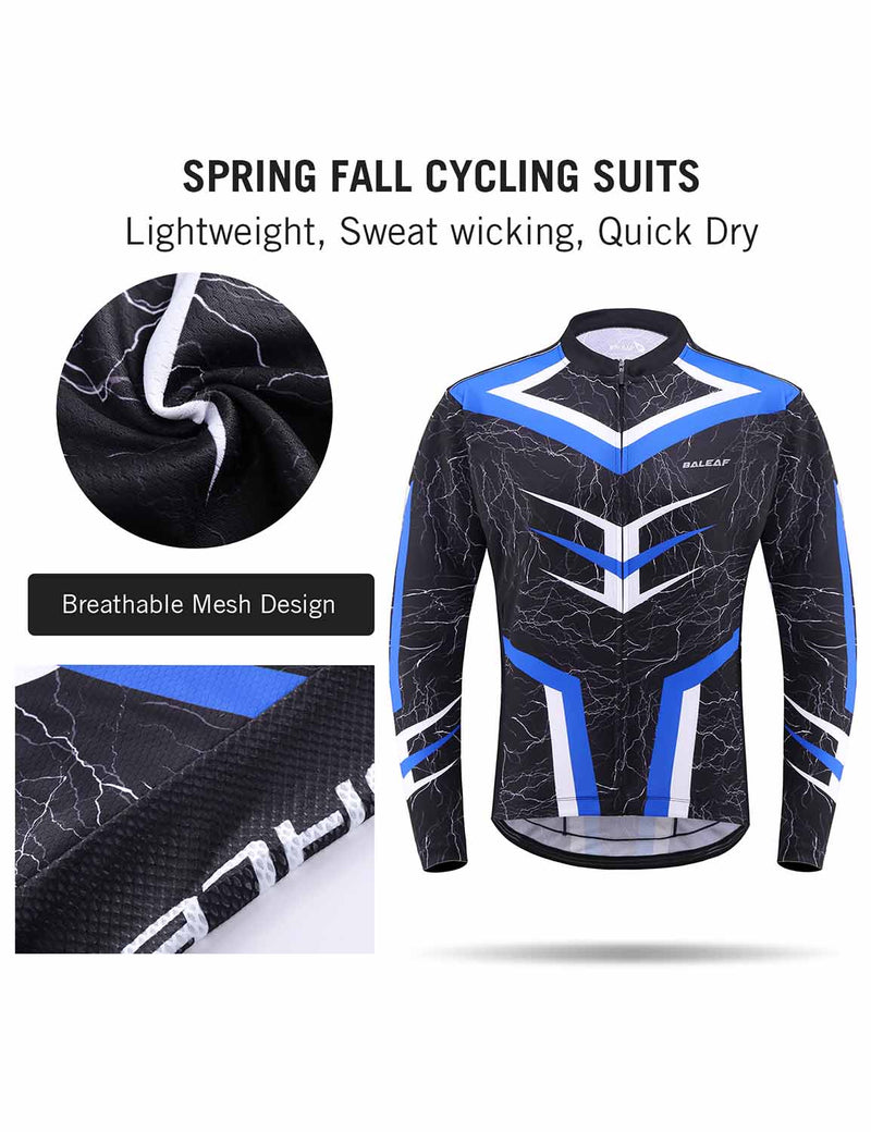 Baleaf Mens UPF 50+ 4D Chamois Padded Digital Prints Long Sleeved Cycling Set – Blue/Black DetailsBaleaf Mens UPF 50+ 4D Chamois Padded Mesh Pocketed Long Sleeved Cycling Set Blue Details