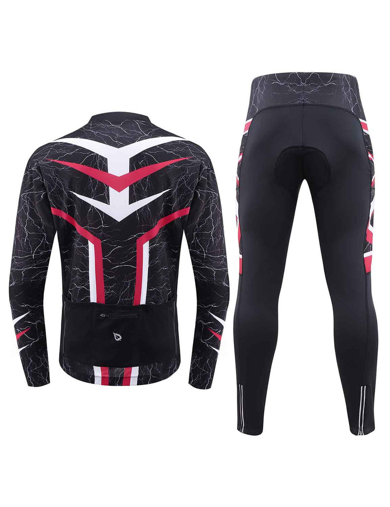 Baleaf Mens UPF 50+ 4D Chamois Padded Digital Prints Long Sleeved Cycling Set – Red Back