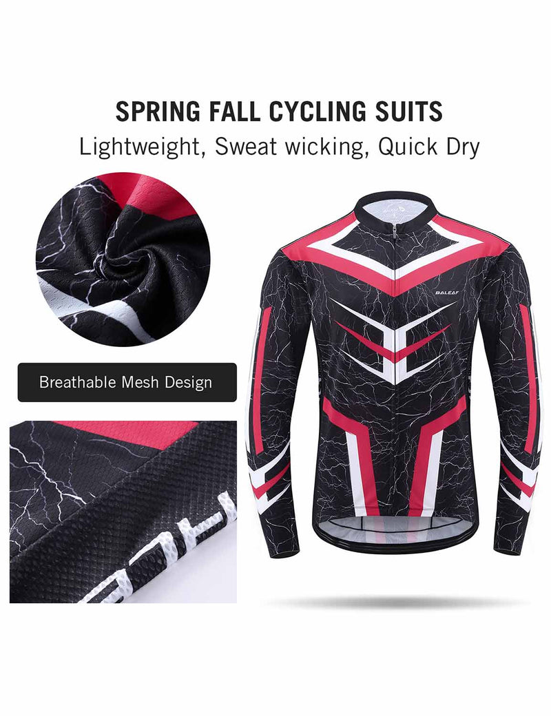 Baleaf Mens UPF 50+ 4D Chamois Padded Digital Prints Long Sleeved Cycling Set – Red Details