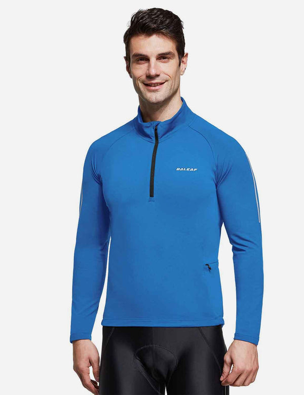 Baleaf Mens Thermal Micro Fleece Mock Neck Half-Zip Pocketed Cycling Jersey Blue Front