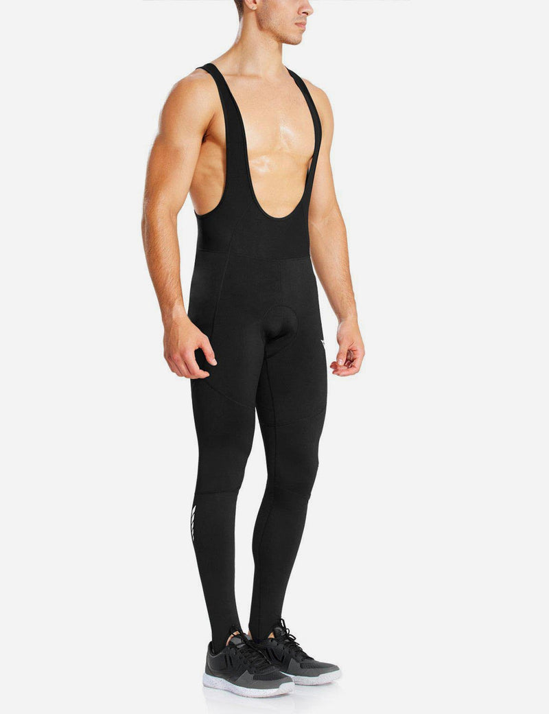 Baleaf Men Soft Fleece & Mesh Cycling Bib Tights black back