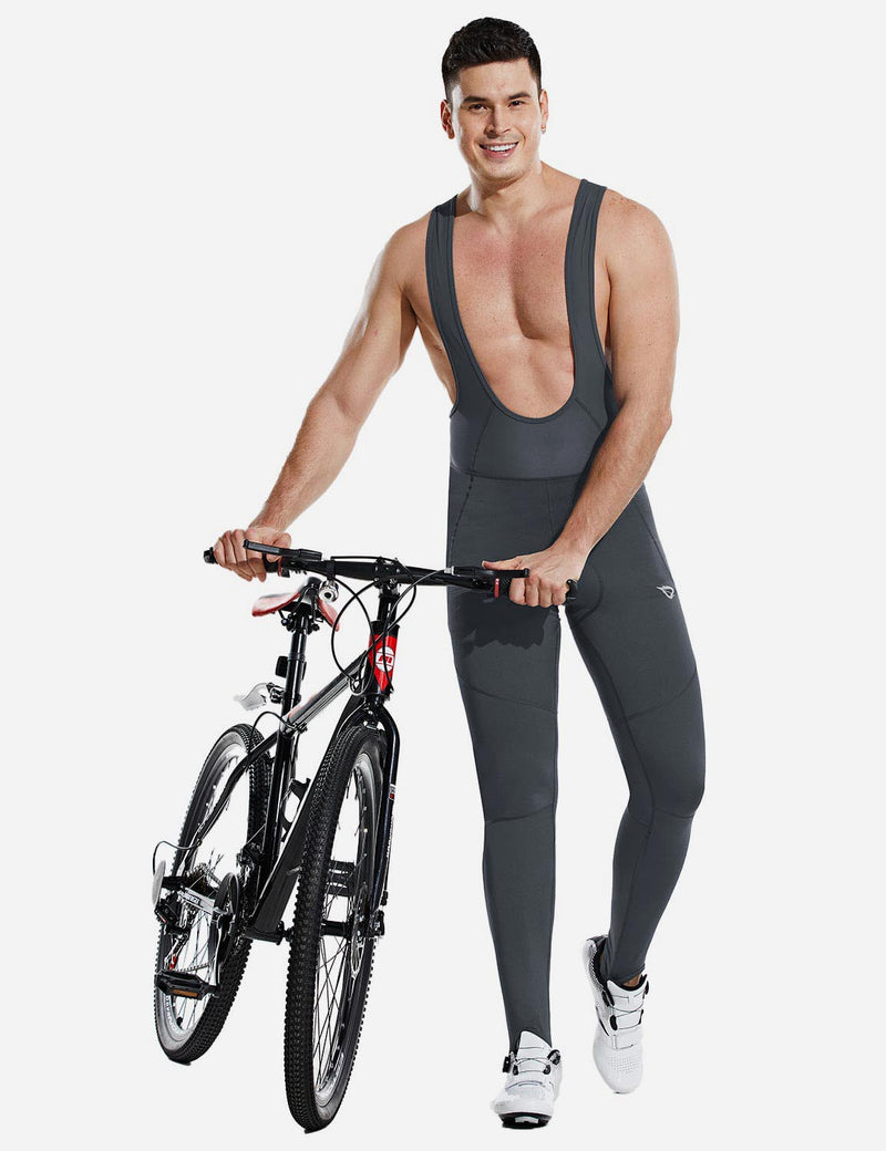 Baleaf Men Soft Fleece & Mesh Cycling Bib Tights Gray back