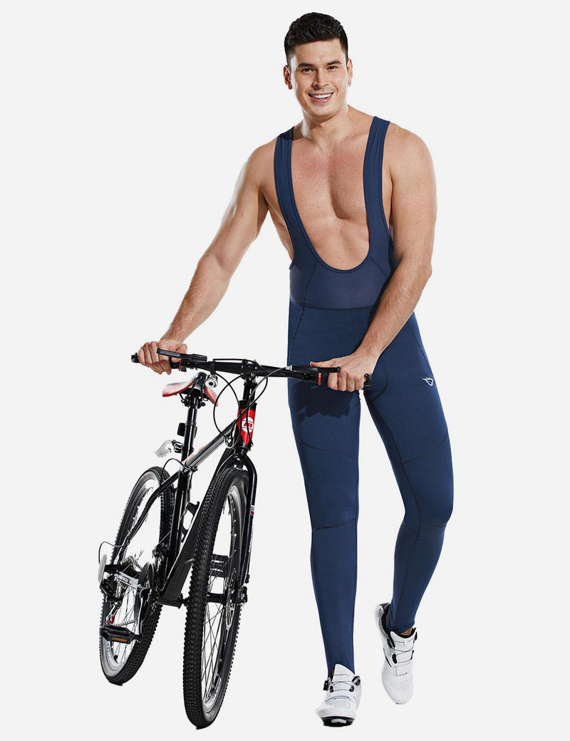 Baleaf Men Soft Fleece & Mesh Cycling Bib Tights Navy side