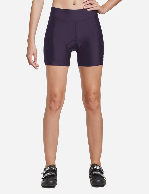 Baleaf Women UPF50+ 3D Chamois Padded Activewear Cycling Shorts Dark-Purple Front