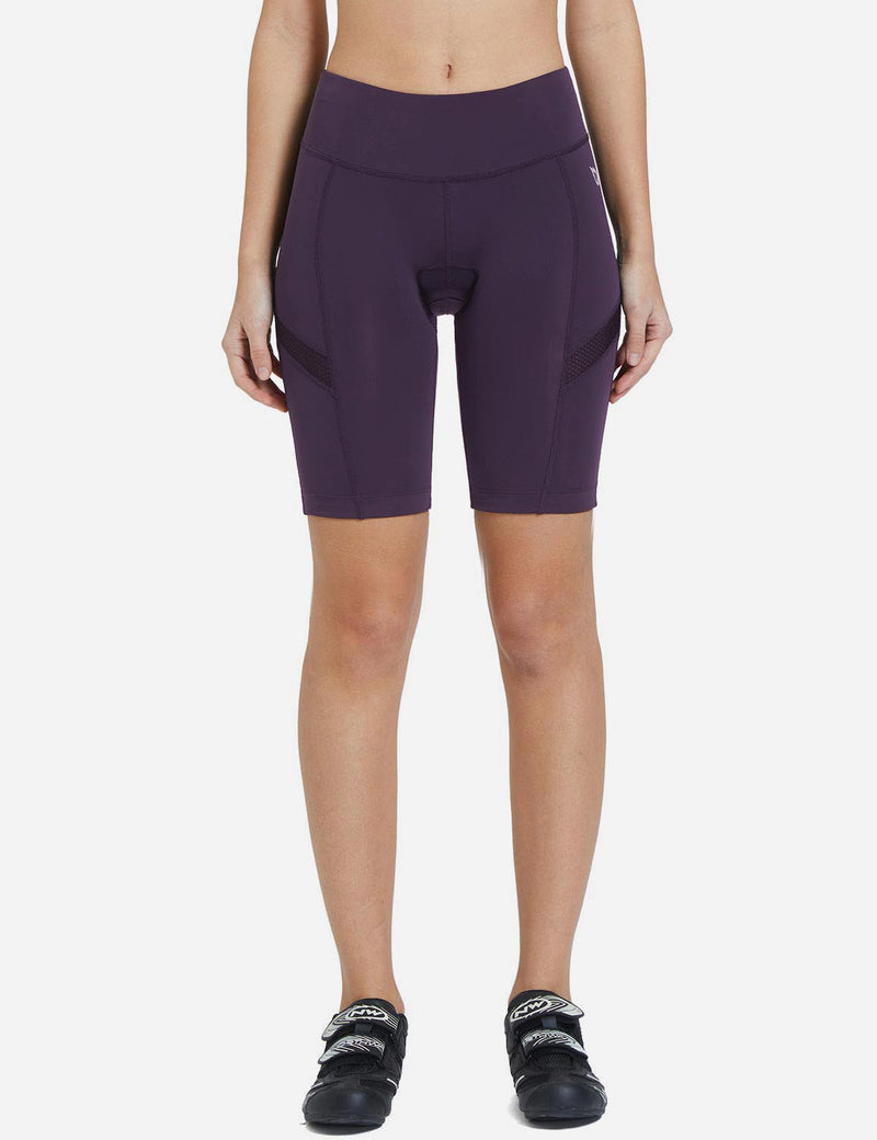 Baleaf Womens UPF50+ 3D Chamois Padded Compression Cycling Shorts Daark Purple Front