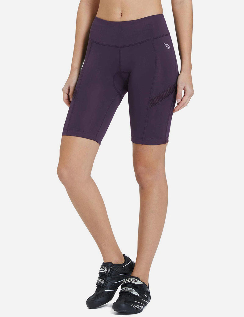 Baleaf Womens UPF50+ 3D Chamois Padded Compression Cycling Shorts Daark Purple Side