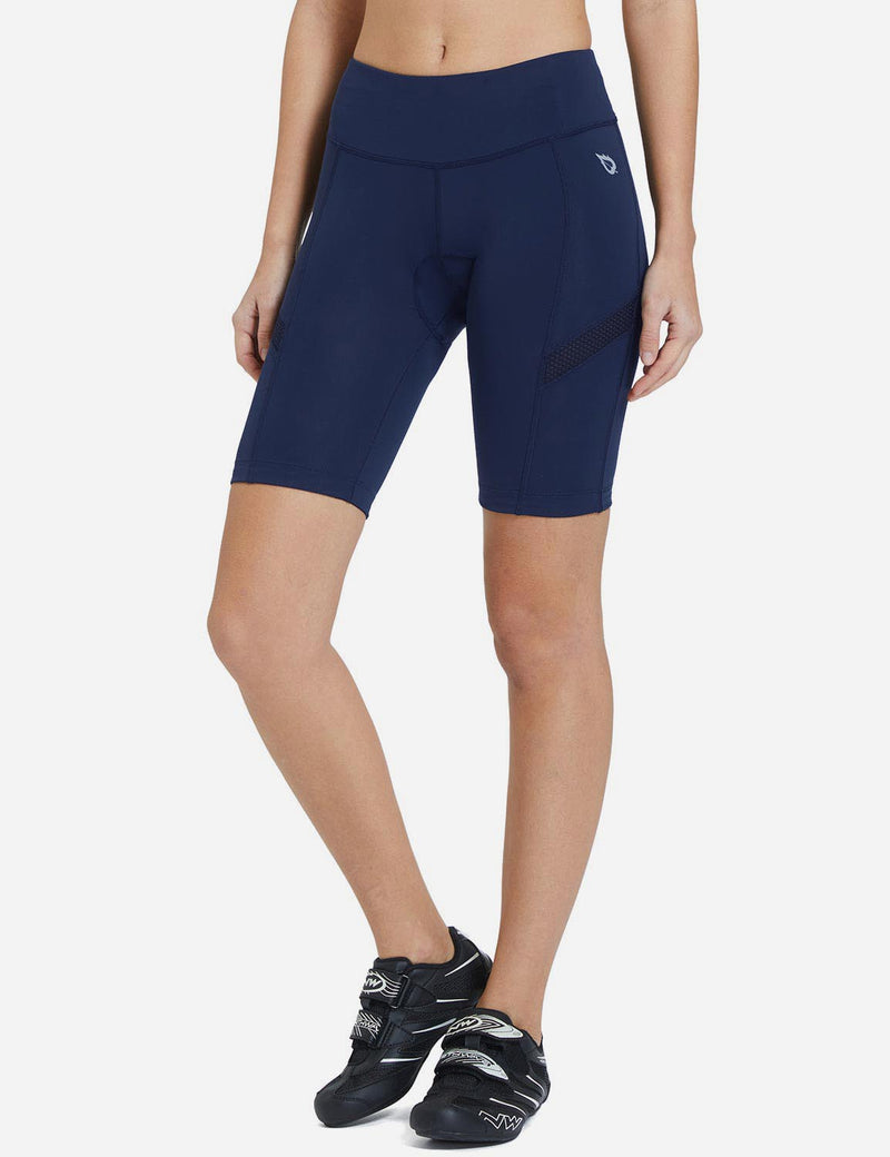 Baleaf Womens UPF 50+ Arc-Shaped Breathable Cycling Shorts Navy Mesh side