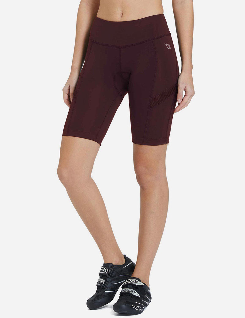 Baleaf Womens UPF50+ 3D Chamois Padded Compression Cycling Shorts Wine Red Side