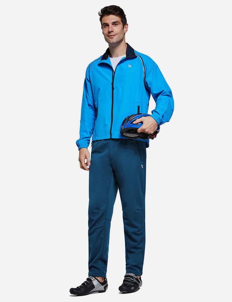 Baleaf Mens Fleece Basic Zippered Legs Sweat Pants Blue Full