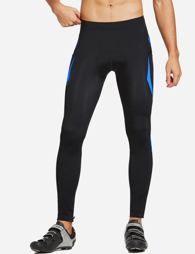 Baleaf Mens Outdoor Multifunctional Workout Compression Tights Blue front